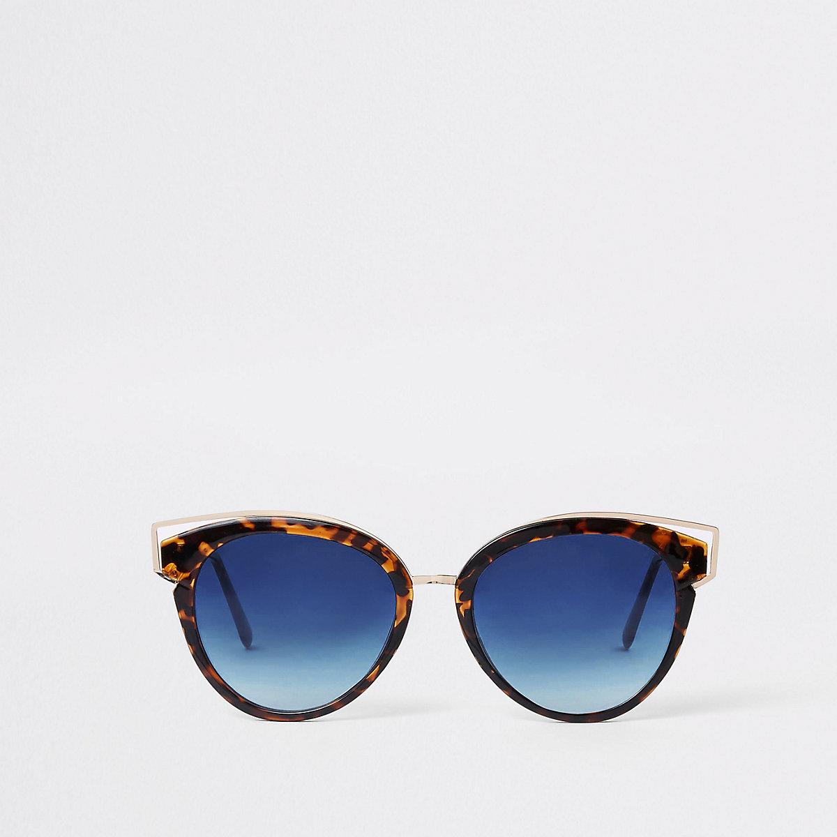 Brown tortoise shell blue lens sunglasses