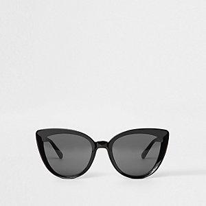 Zwarte cat-eye-zonnebril met glazen in de kleur smoke
