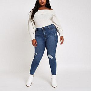Plus – Harper – Blaue Super Skinny Jeans im Used Look