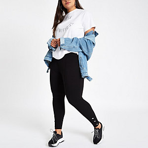 Plus black button trim leggings