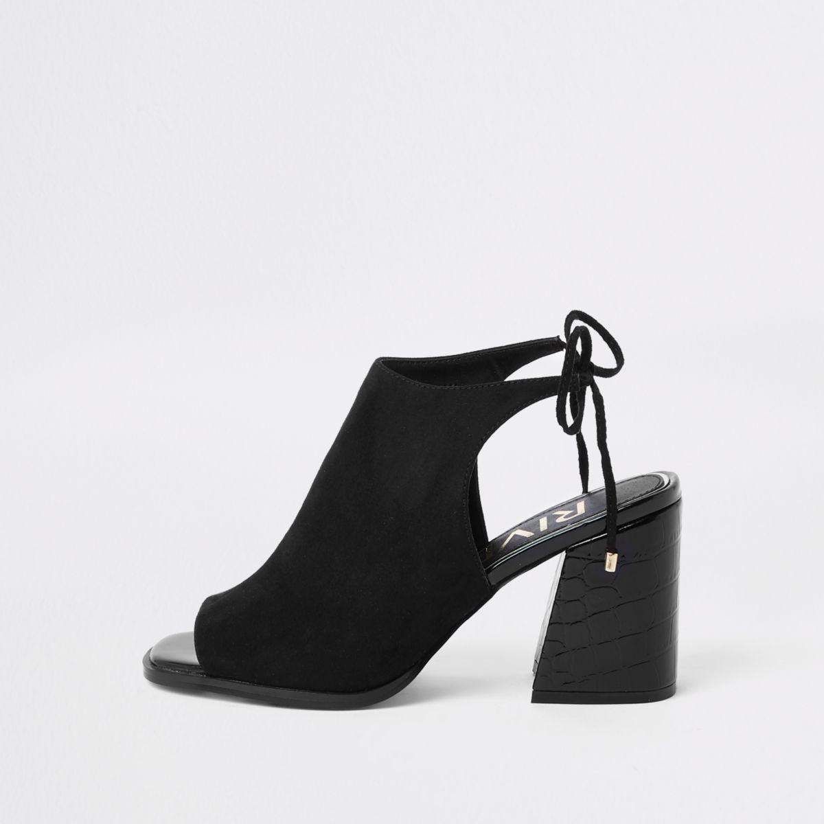 Black tie back block heel shoe boots