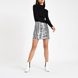 Black mono print sequin mini skirt