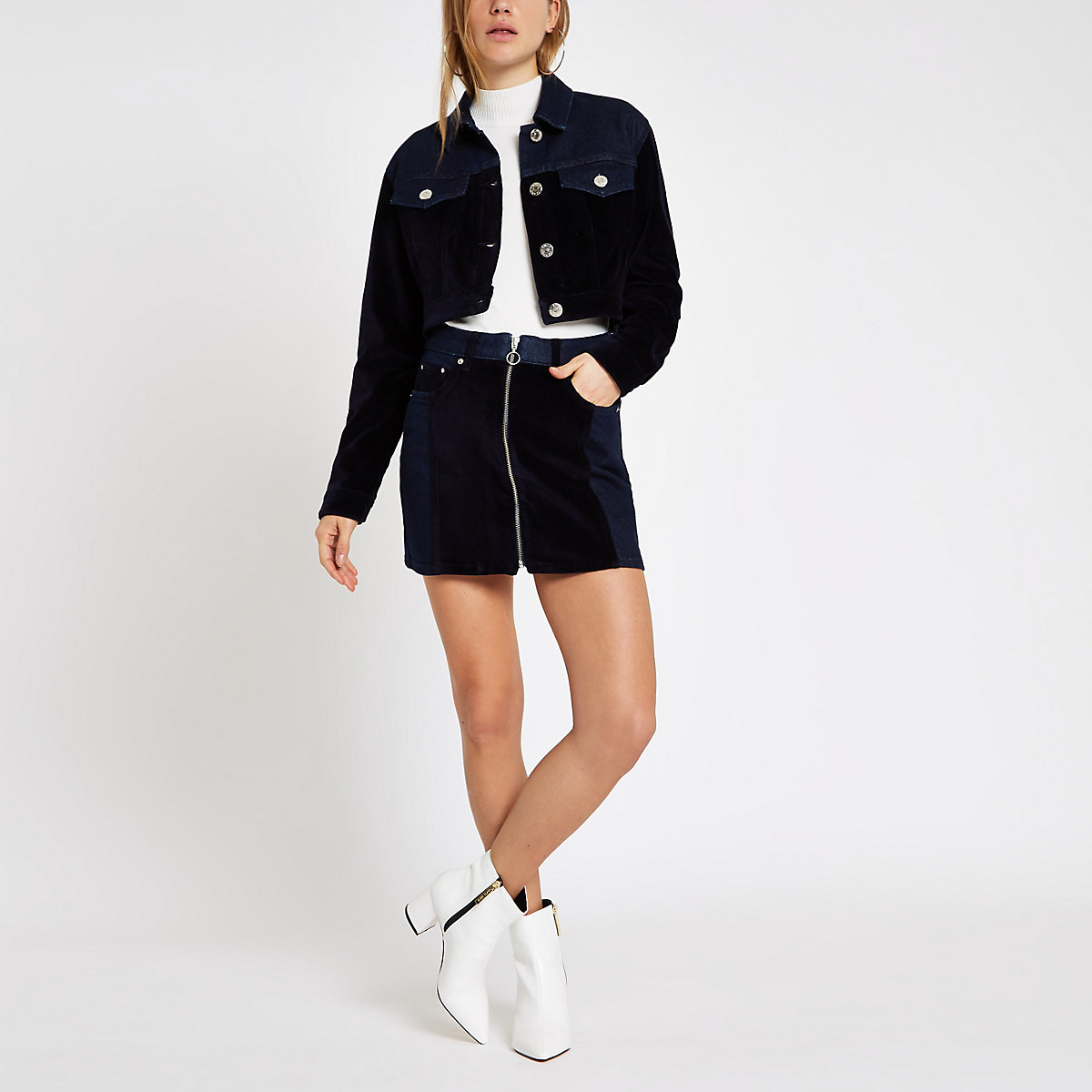 Dark blue velvet panel cropped denim jacket
