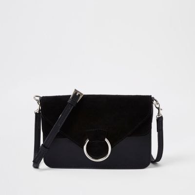 Black Front Hoop Pocket Cross Body Bag by River Island