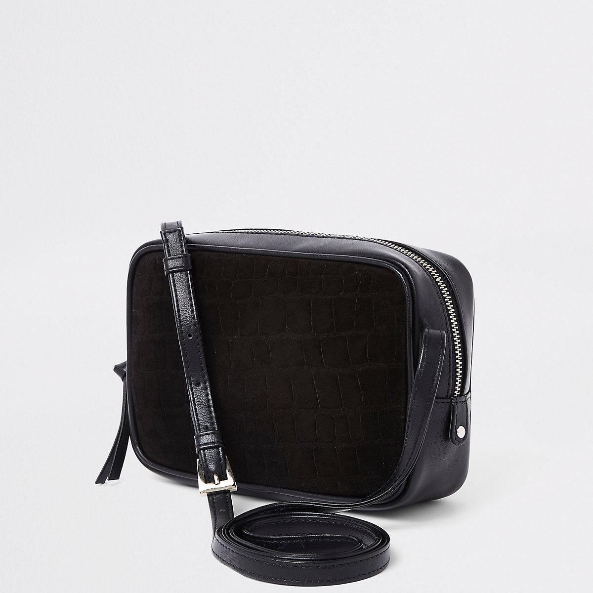 Black croc embossed mini cross body bag