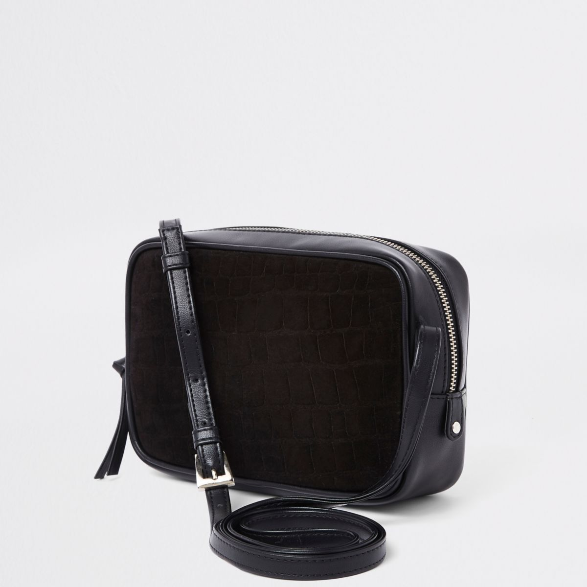 Black croc embossed mini cross body bag