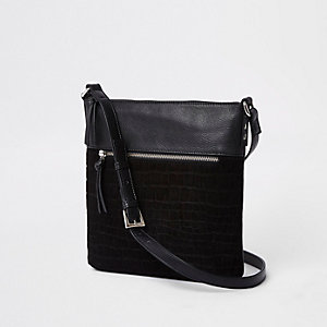 Black croc front pocket messenger bag