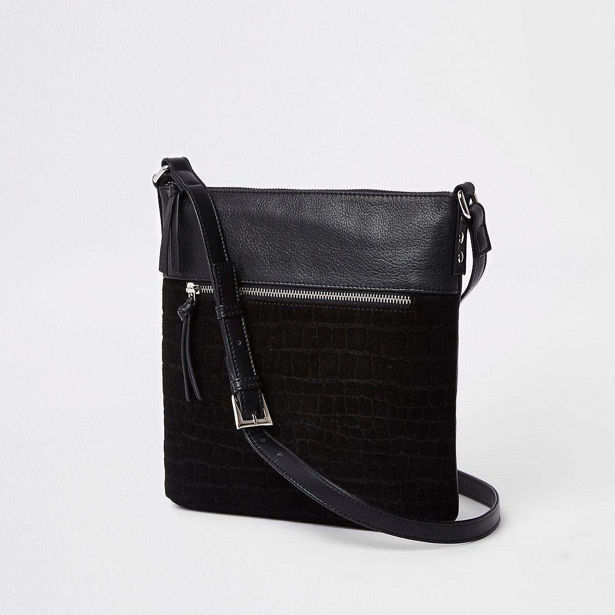 Black croc front pocket messenger bag