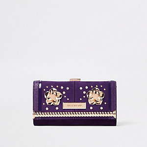 Dark purple embellished clip top purse