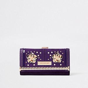 Porte-monnaie violet foncé à fermoir clip orné