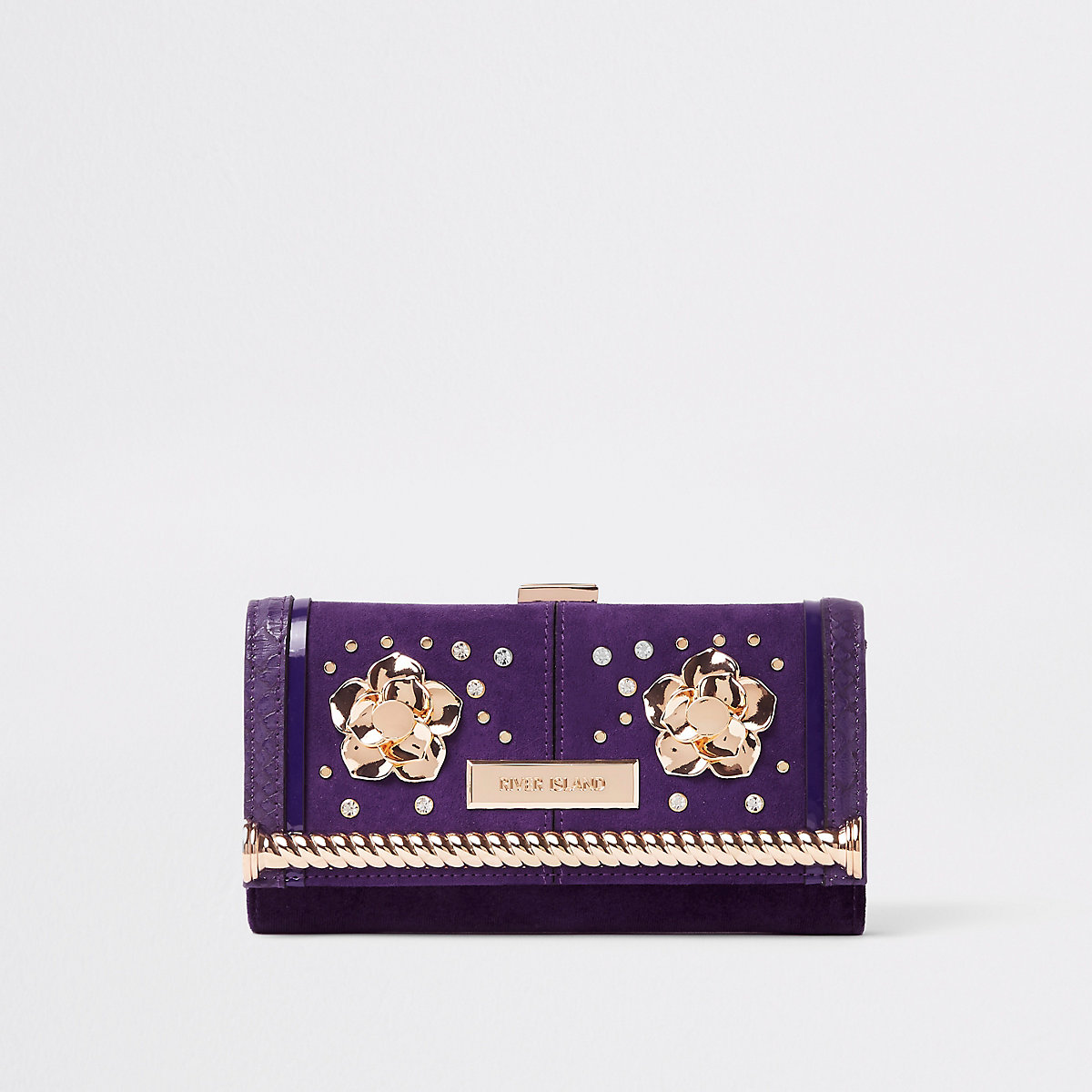Dark purple embellished clip top purse