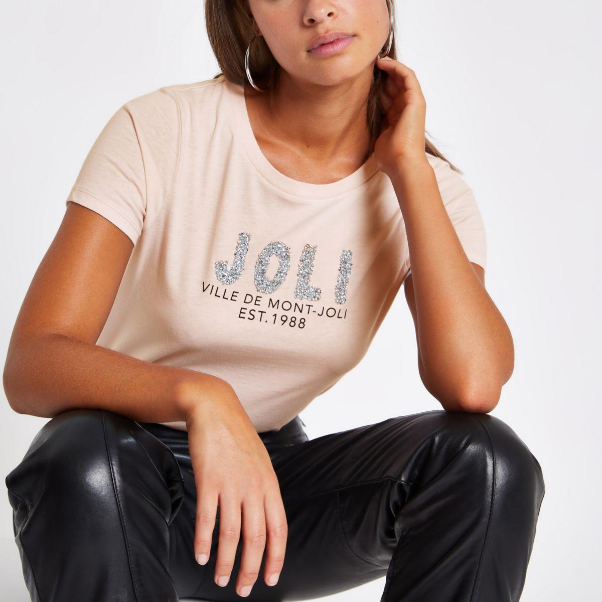 Pink 'Joli' rhinestone embellished T-shirt