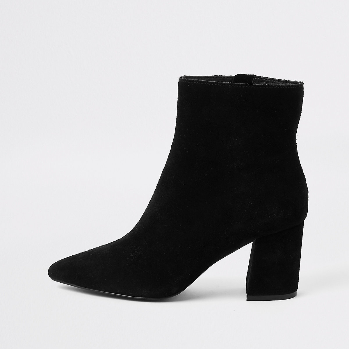 Black suede pointed toe block heel boots