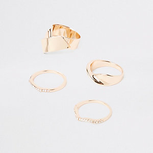 Gold tone chunky diamante ring pack