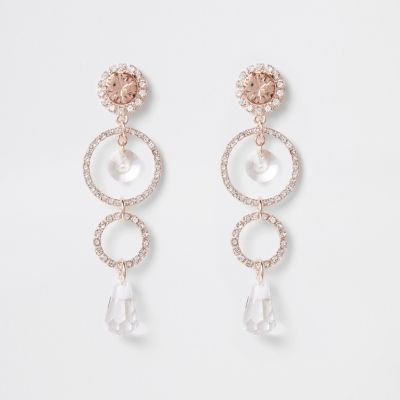 Rose Gold Tone Circle Pendant Drop Earrings by River Island