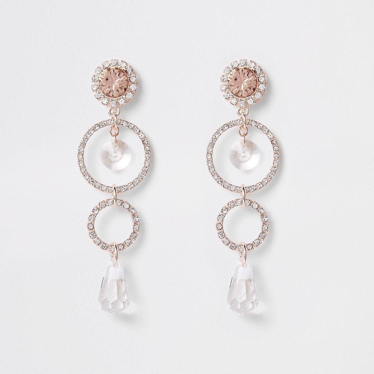 Rose gold tone circle pendant drop earrings