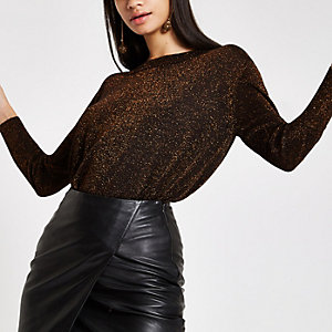 Bronze metallic crew neck sweater
