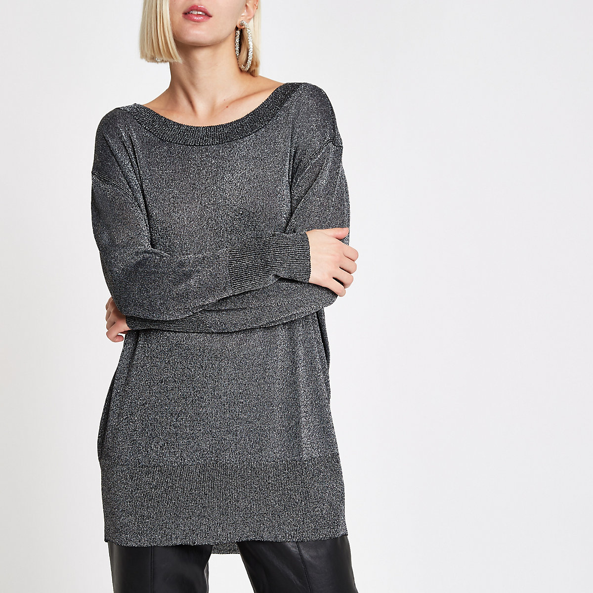 Black knit metallic stitch crew neck jumper