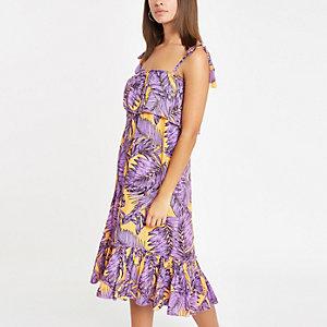 Robe de plage mi-longue imprimé feuille violette