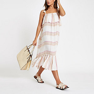 Cream stripe oversized midi beach dress
