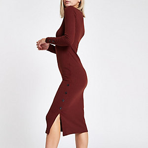 Petite rust rib button side midi dress