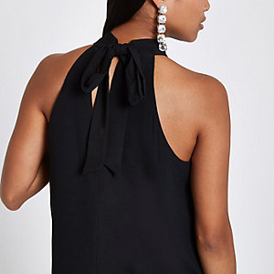 Petite black tie halter neck top