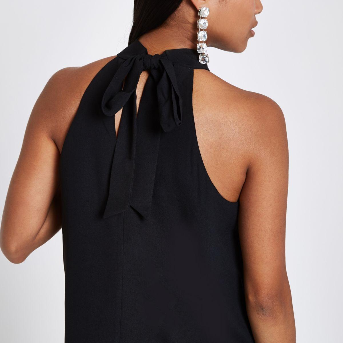 Petite black tie halter neck top