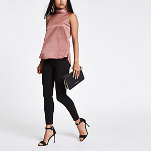 Petite pink chiffon roll neck sleeveless top