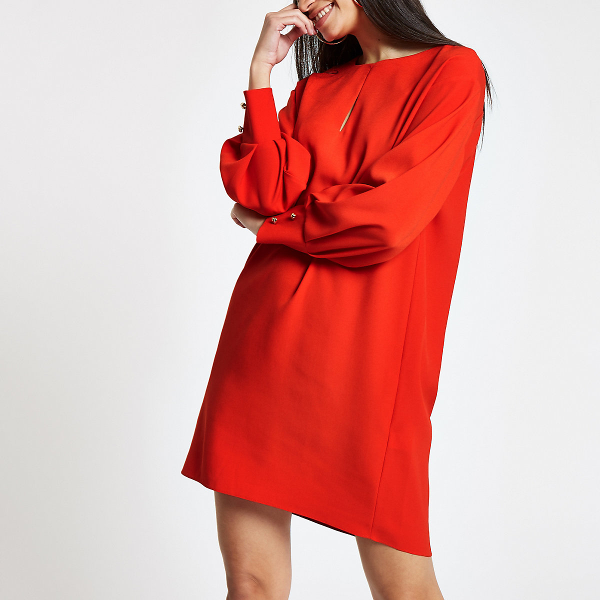 Trapèze Rouge Robes Robe Manches Femme À Longues AqzzCwFn