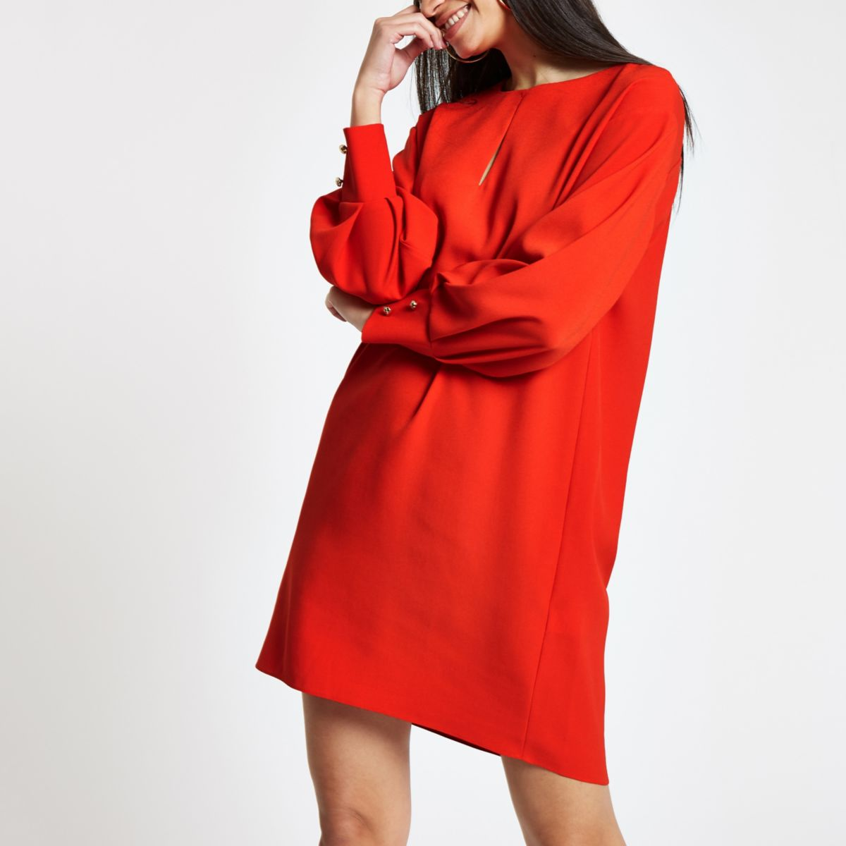 Red long sleeve swing dress