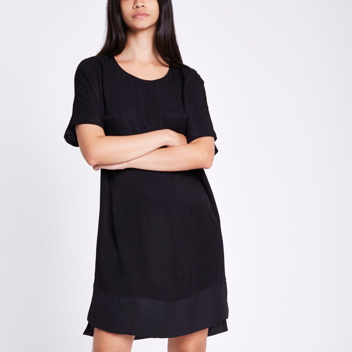 Black short sleeve sheer hem dress