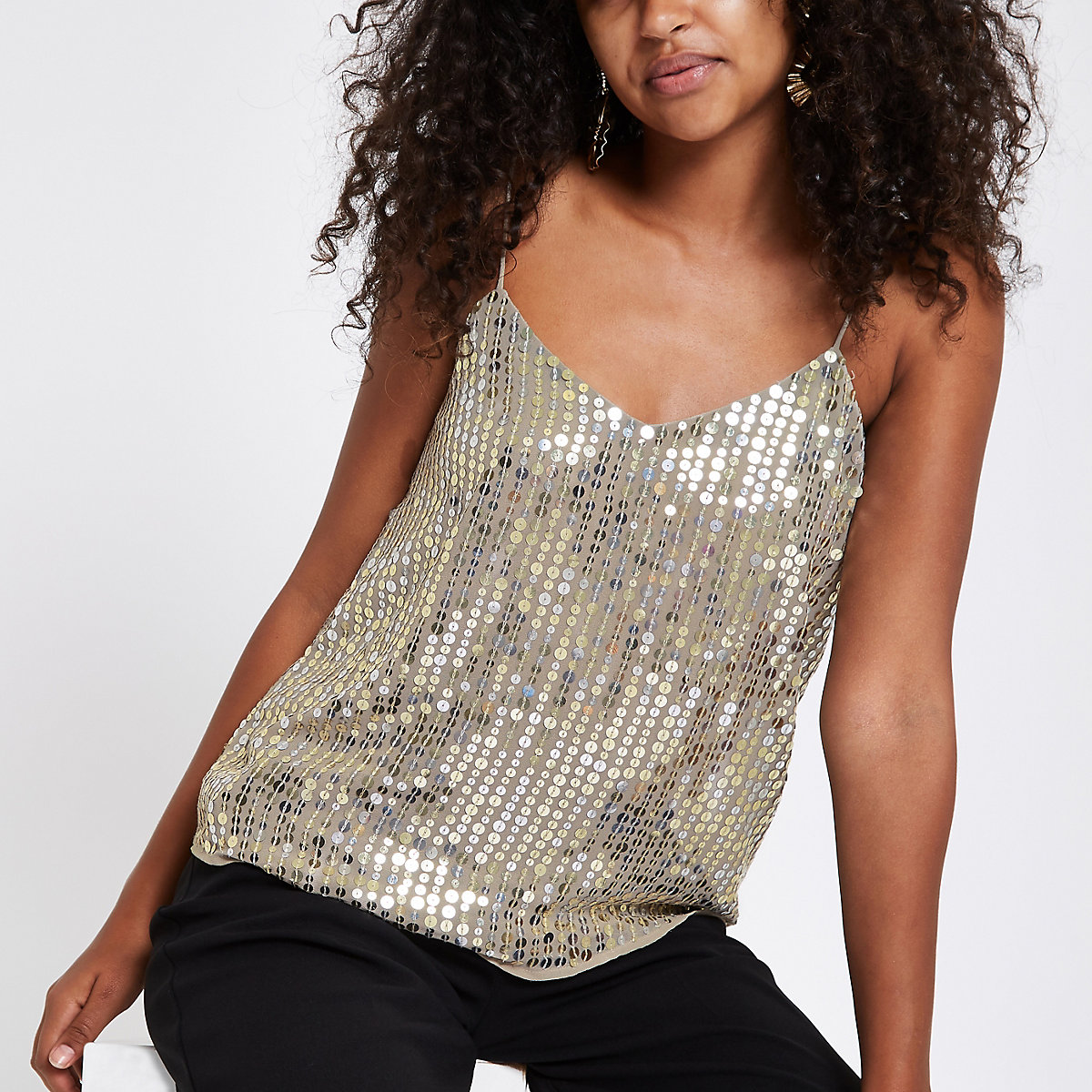Gold sequin embellished cami top