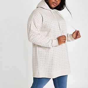 Plus beige sequin embellished hoodie