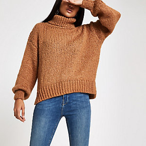 Petite beige roll neck chunky knit sweater