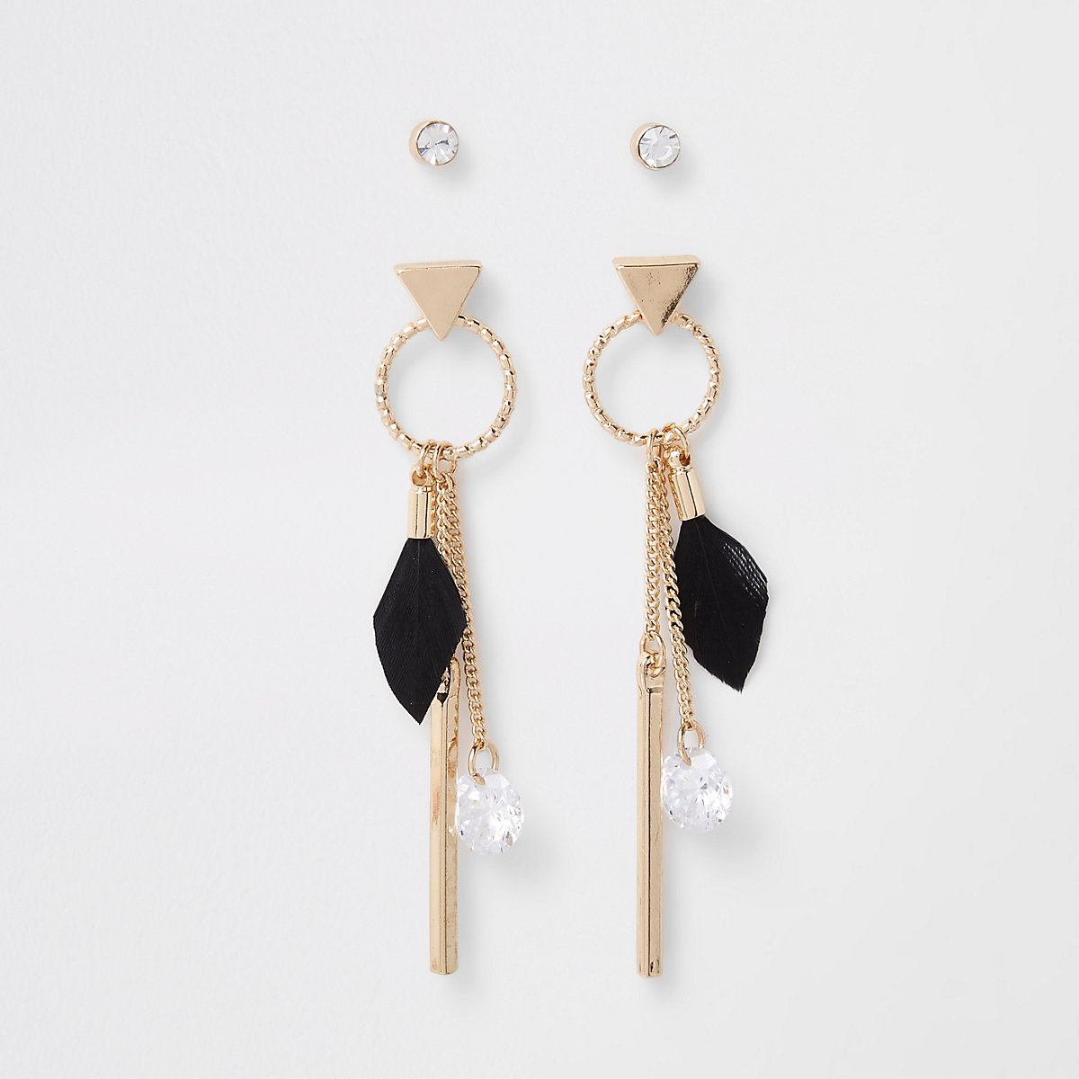 Gold feather drop earring multipack