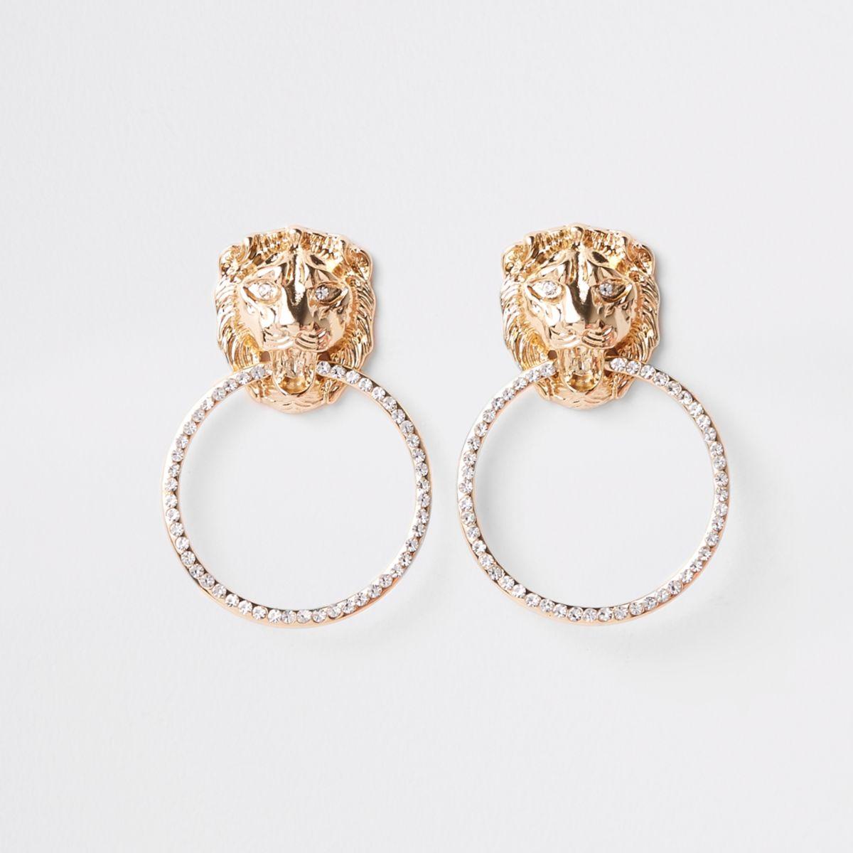 Gold tone lion door knocker drop earrings