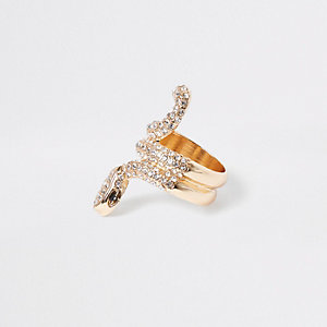 Gold tone rhinestone paved snake ring