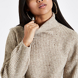 Petite beige roll neck knit sweater