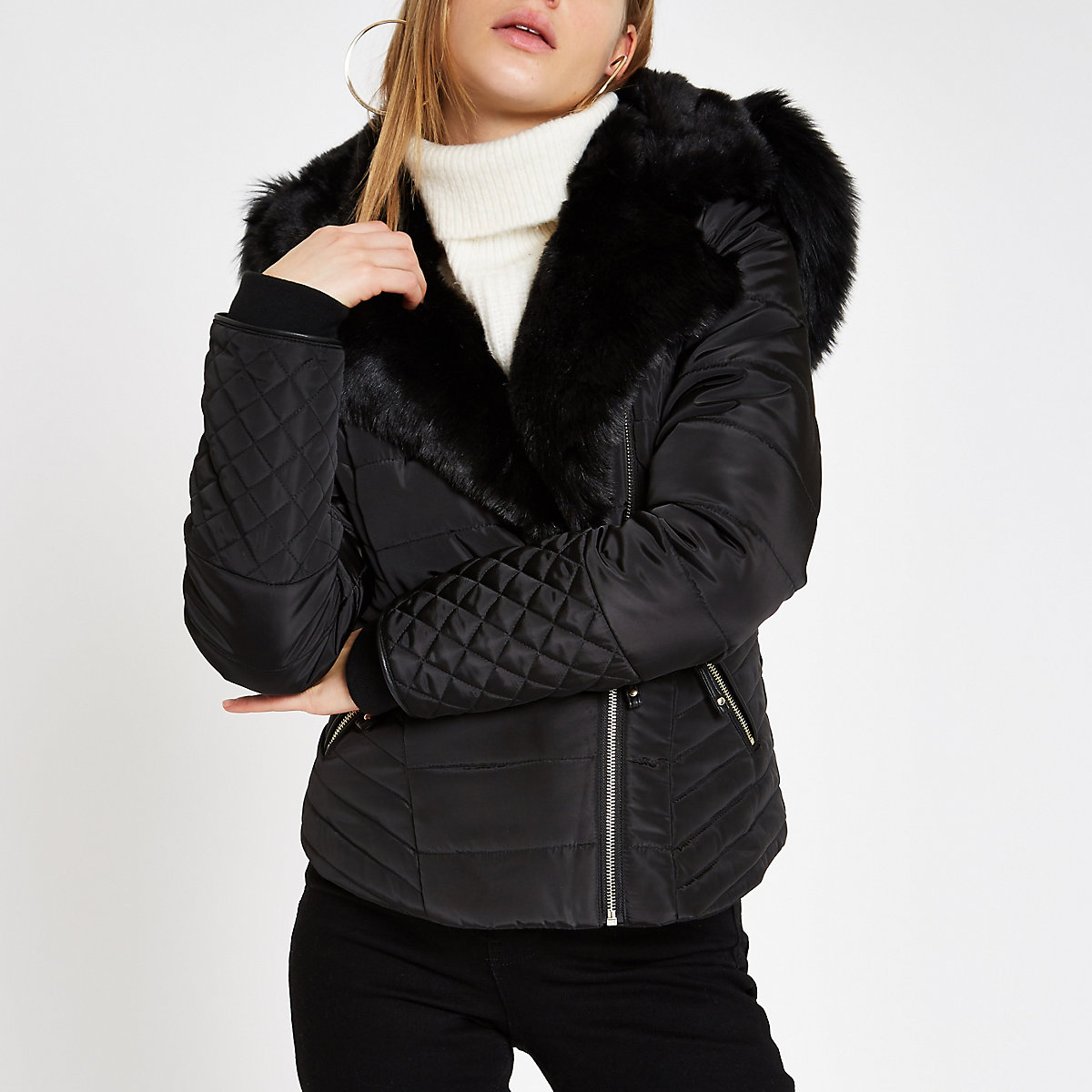 Black faux fur trim padded biker jacket