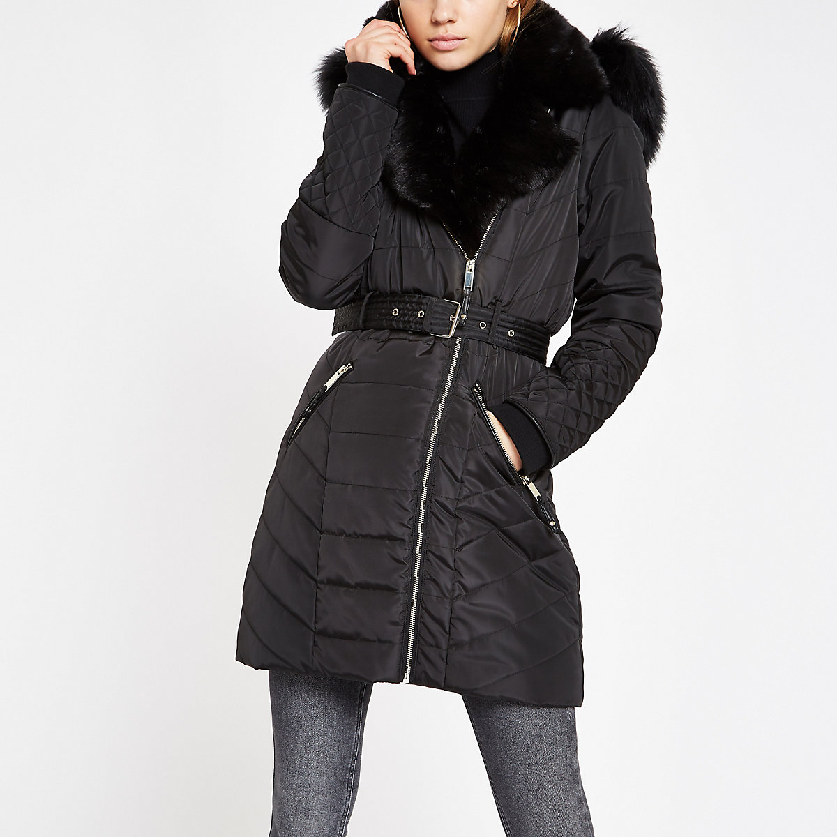 Black padded biker faux fur hood coat