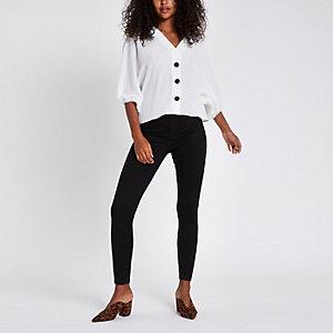 Weiße Loose Fit Bluse mit Knöpfen