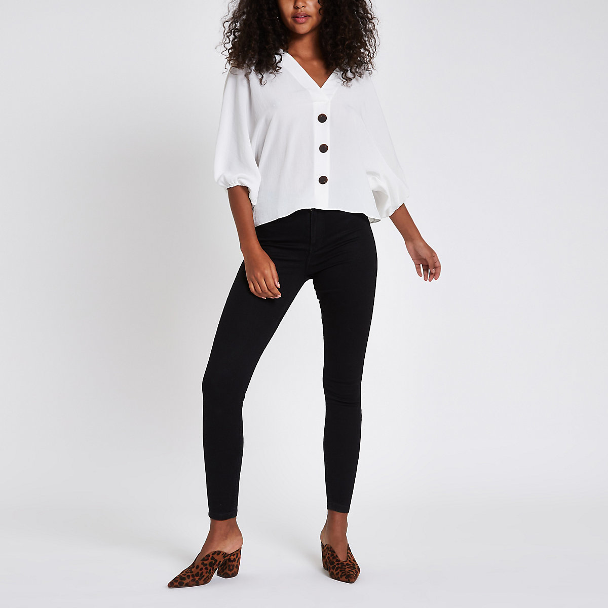 White loose fit button up blouse