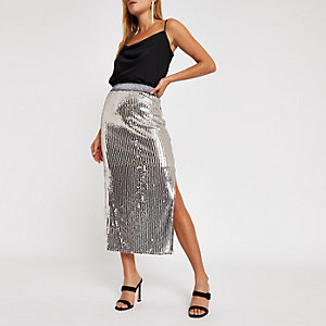 Silver sequin split hem  midi skirt