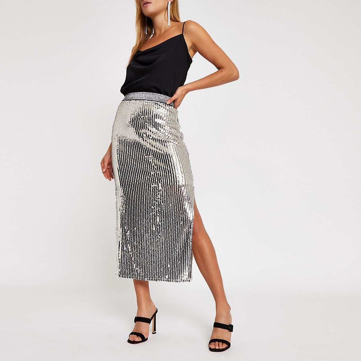 Silver sequin split hem  midi skirt