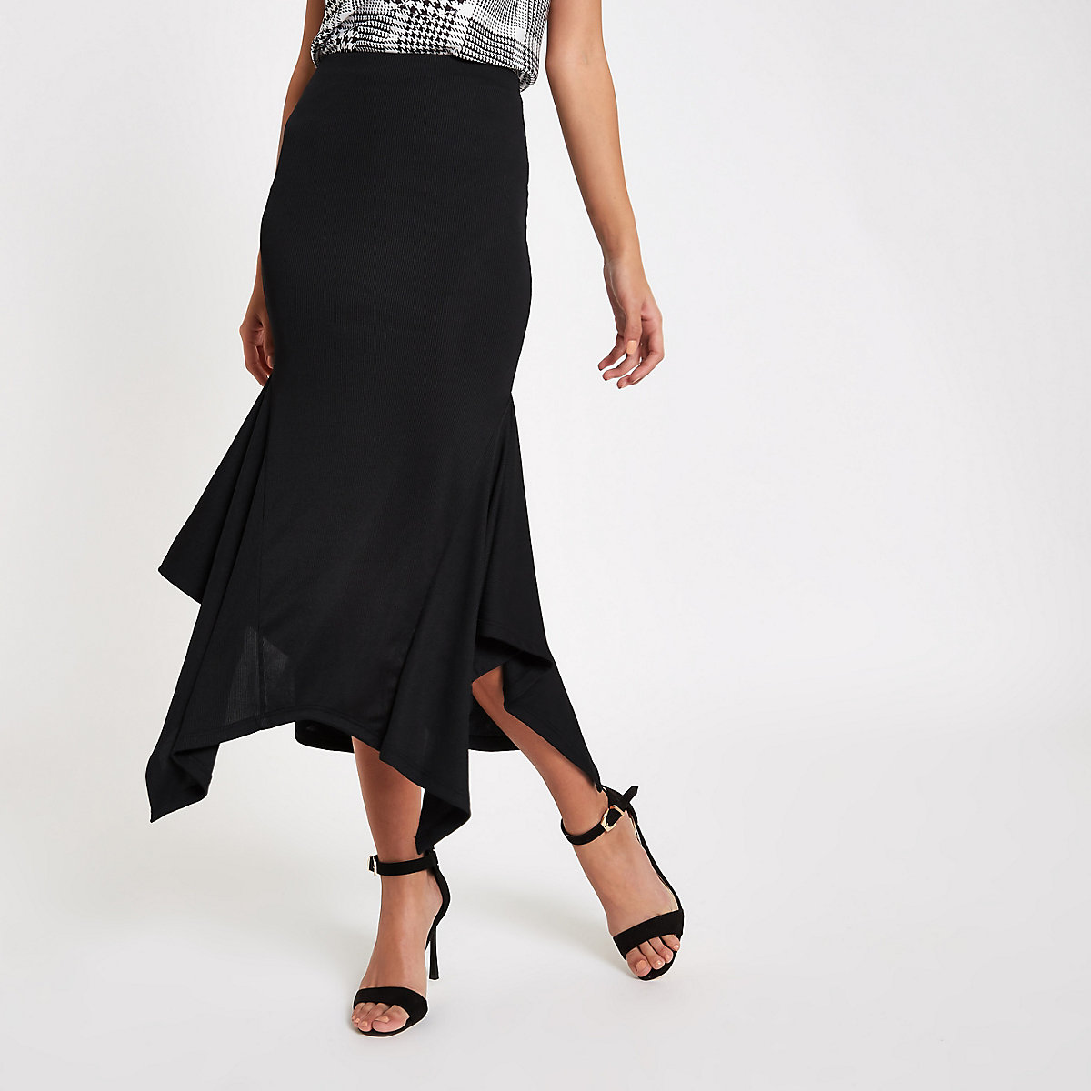 Black ribbed slinky side flare midi skirt