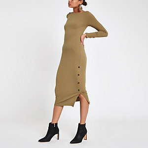 Light green rib button side midi dress
