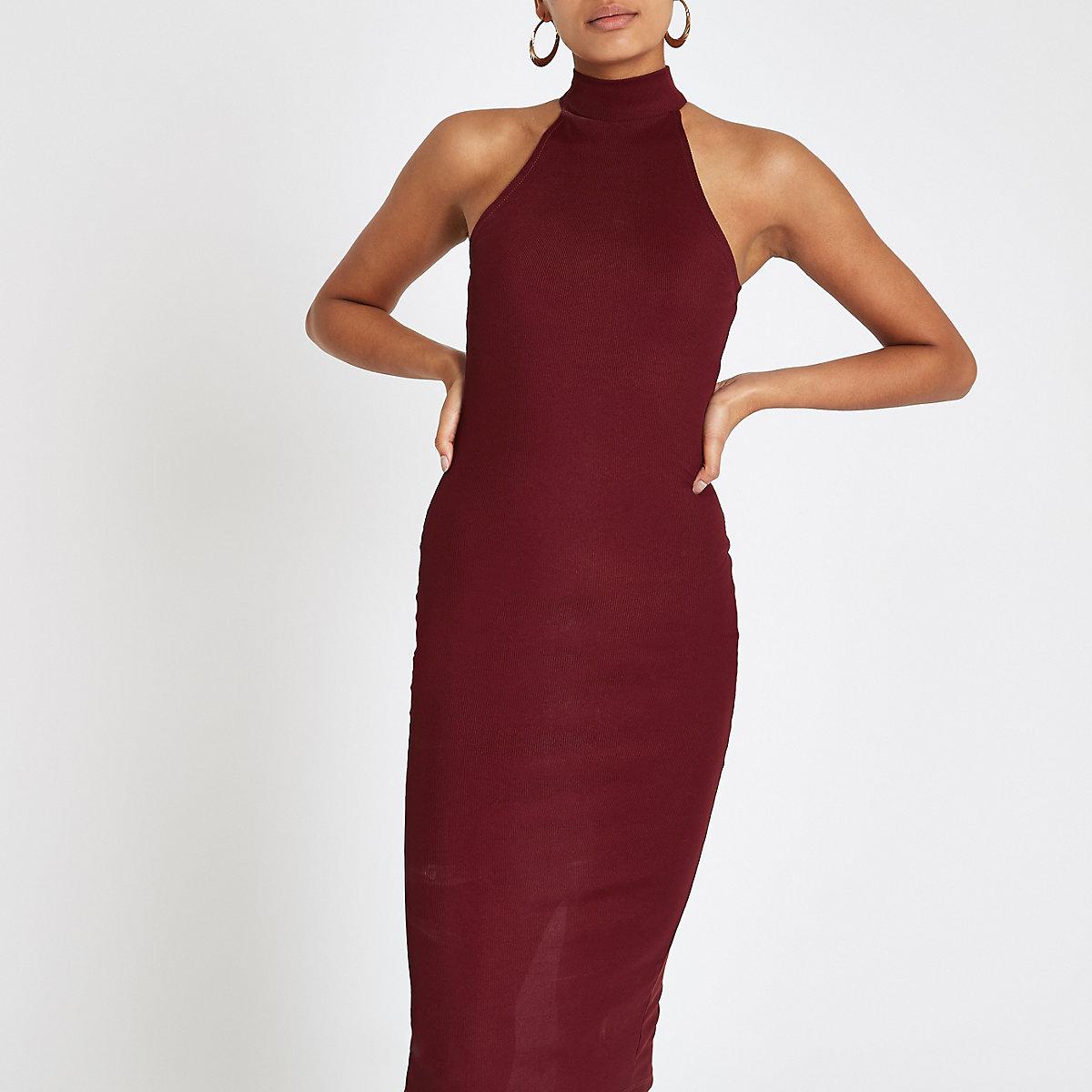 Dark red halter neck cutaway bodycon dress