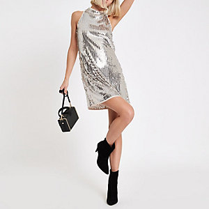 Silver sequin sleeveless swing dress