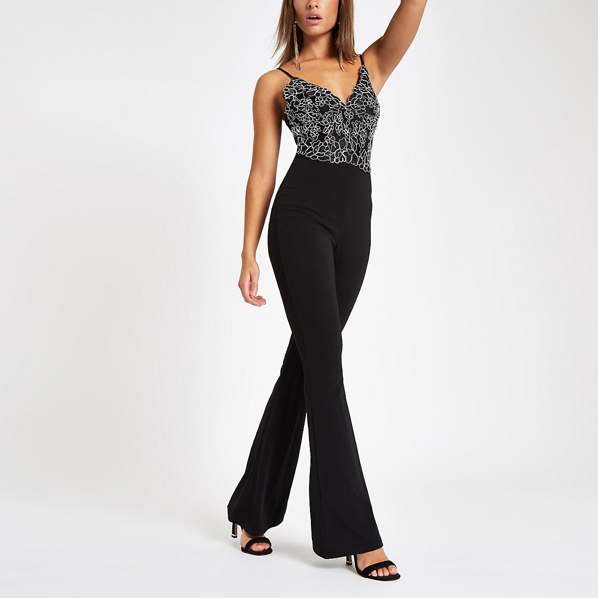 Black lace flared leg jumpsuit