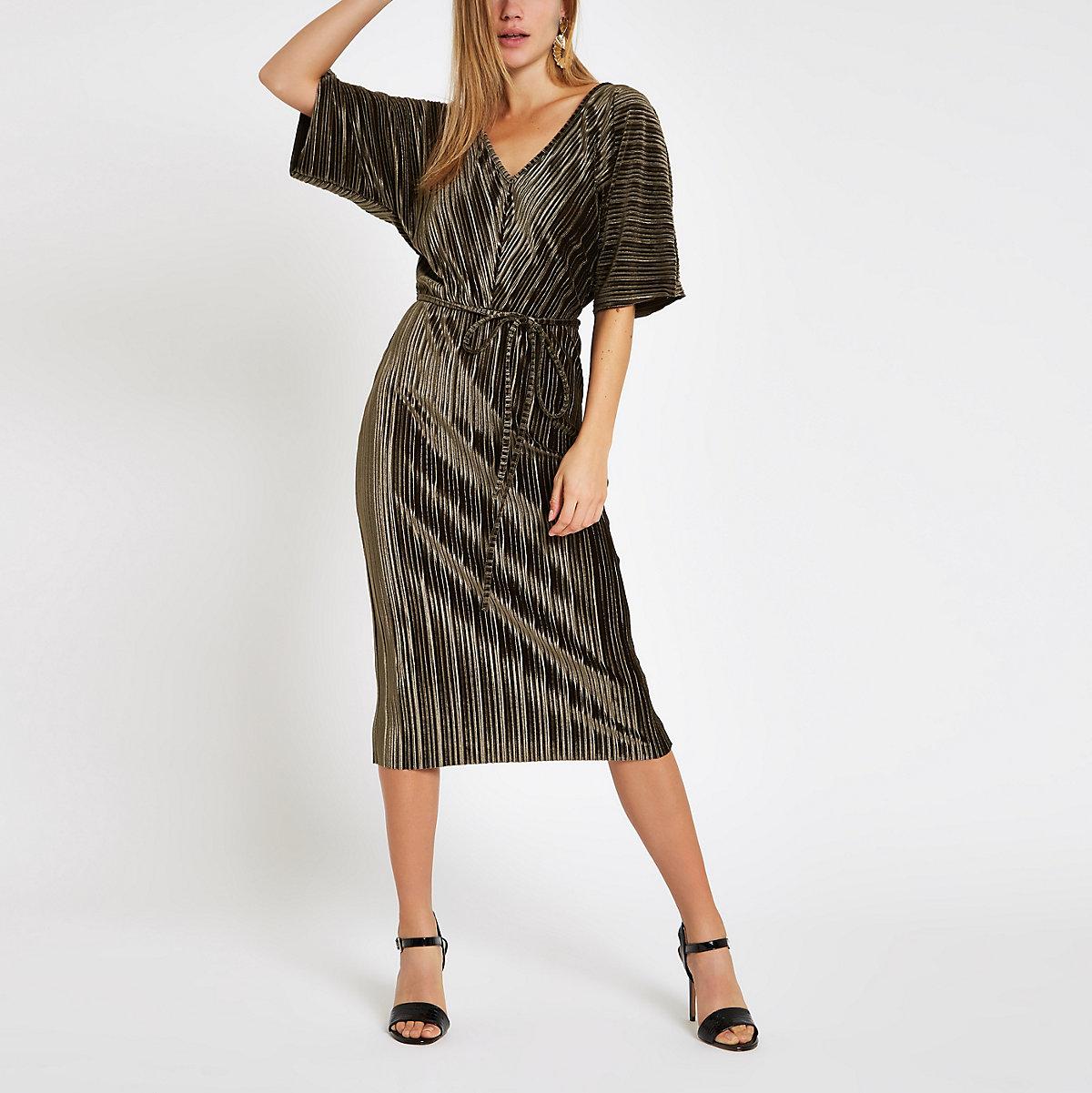 Khaki green velvet plisse bodycon midi dress - Bodycon Dresses - Dresses -  women 647cb1fec